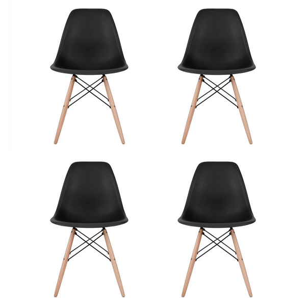 Set of 4 - Black Eames Style Molded Plastic Dowel-Leg Dining Side Wood Base Chair (DSW) Natural Legs