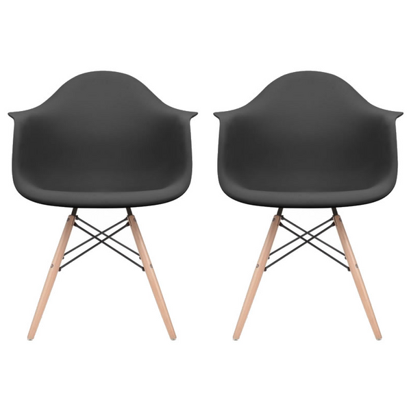 Set of 2 - Black Eames Style Molded Plastic Dowel-Leg Dining Arm Wood Base Chair (DAW) Natural Legs