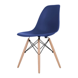 Ultra Marine Eames Style Molded Plastic Dowel-Leg Dining Side Wood Base Chair (DSW) Natural Legs