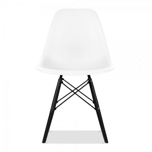 White Eames Style Molded Plastic Dowel-Leg Dining Side Wood Base Chair (DSW) Black Legs