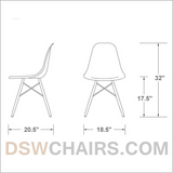 Set of 4 - Gray Eames Style Molded Plastic Dowel-Leg Dining Side Wood Base Chair (DSW) Natural Legs
