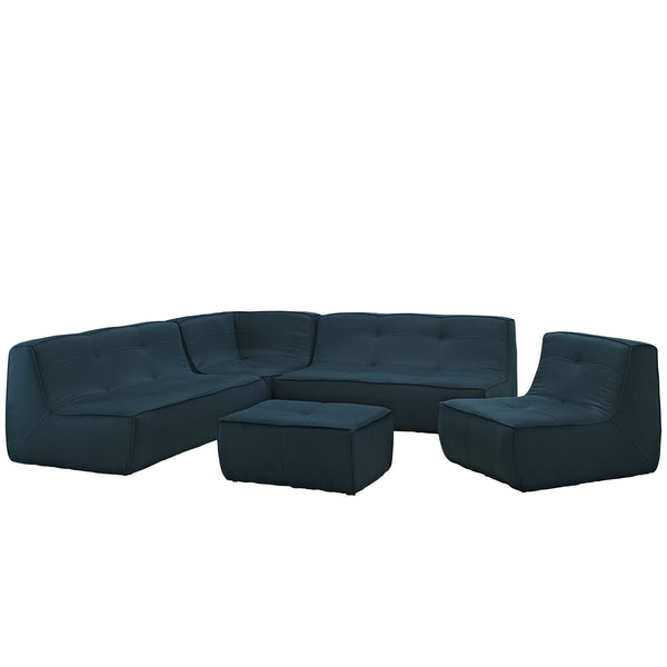 Align 5 Piece Upholstered Sectional Sofa Set - Azure