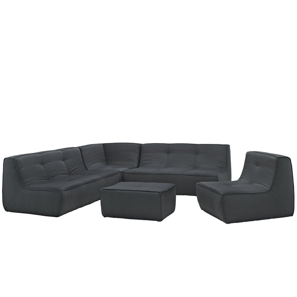 Align 5 Piece Upholstered Sectional Sofa Set - Charcoal