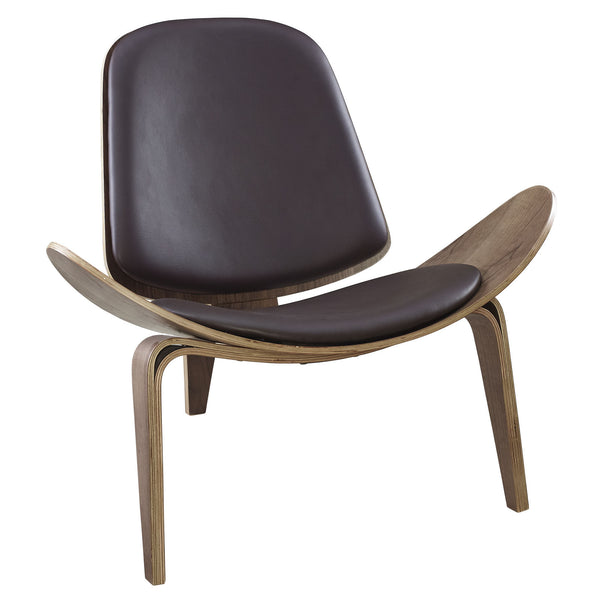 Arch Vinyl Lounge Chair - Walnut Brown
