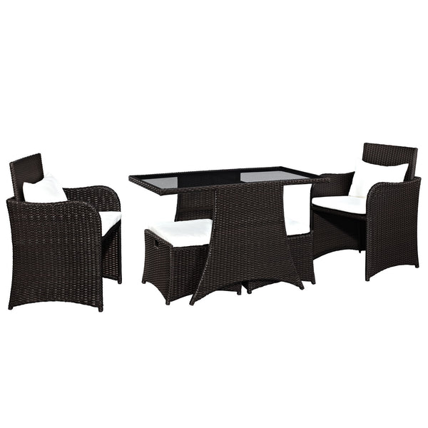 Artesia 5 Piece Outdoor Patio Dining Set - Brown White