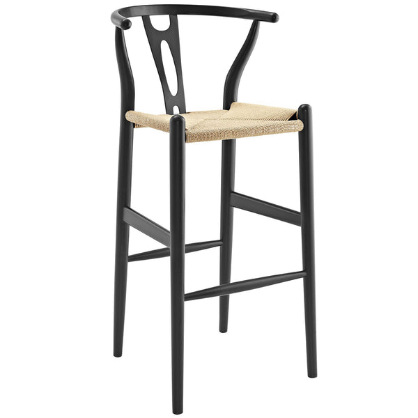 Amish Wood Bar Stool - Black
