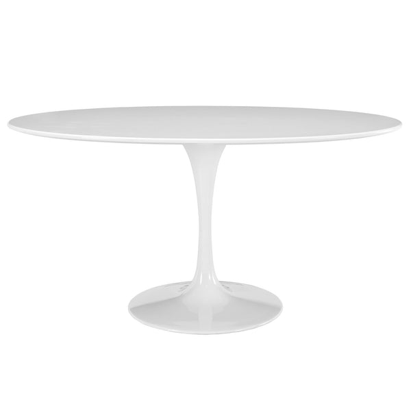 "Lippa 60"" Oval-Shaped Wood Top Dining Table - White"