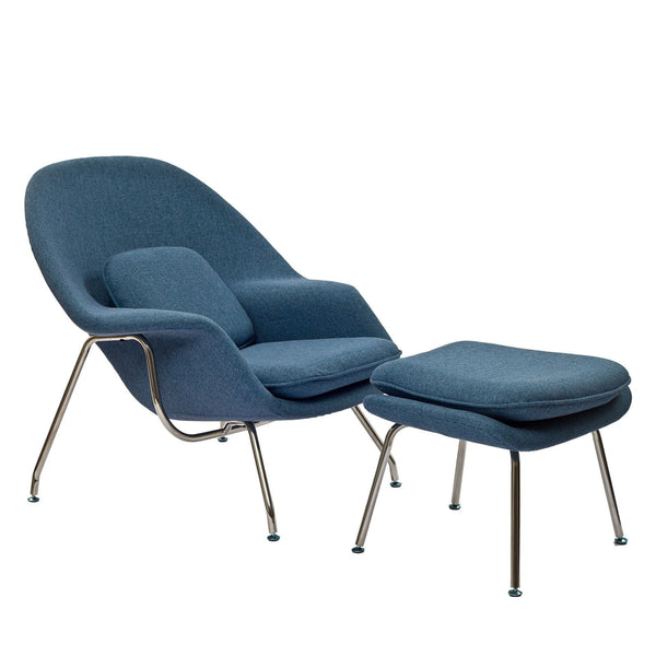 W Fabric Lounge Chair - Blue Tweed