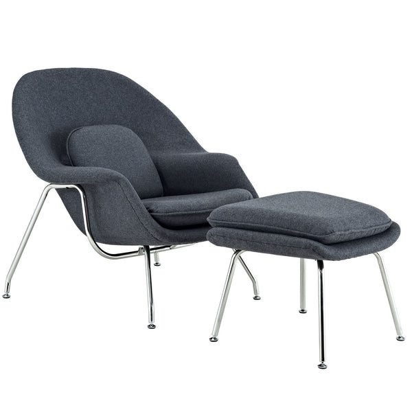 W Fabric Lounge Chair - Dark Gray