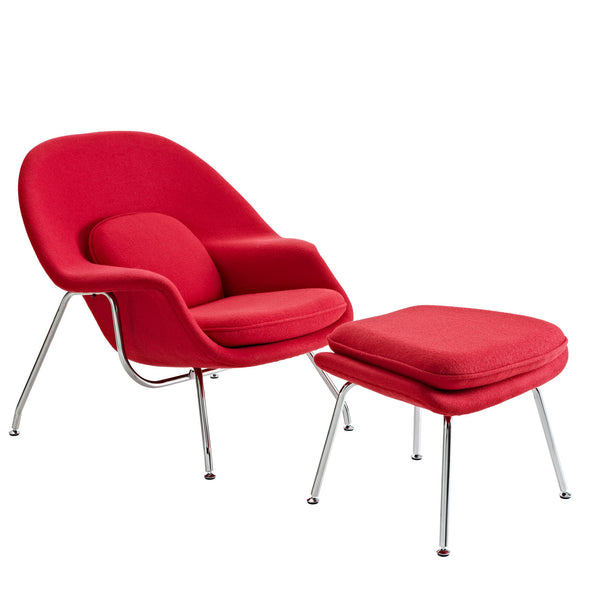 W Fabric Lounge Chair - Red