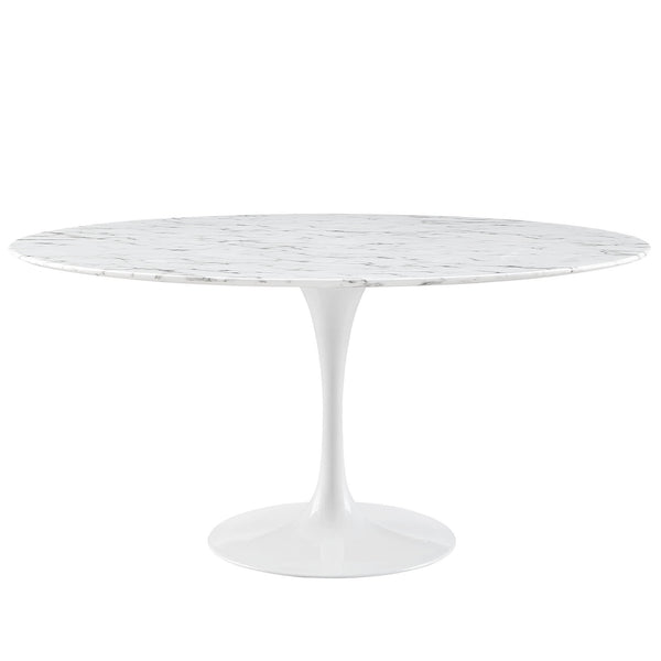 "Lippa 60"" Artificial Marble Dining Table - White"
