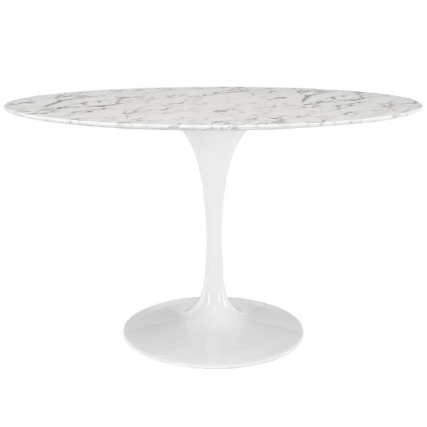 "Lippa 54"" Oval-Shaped Artificial Marble Dining Table - White"