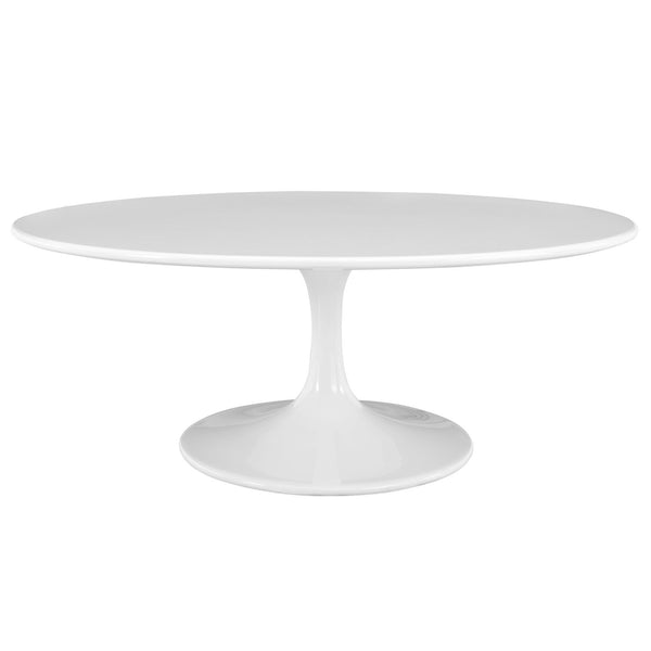 "Lippa 42"" Oval-Shaped Wood Top Coffee Table - White"