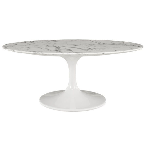 "Lippa 42"" Oval-Shaped Artificial Marble Coffee Table - White"