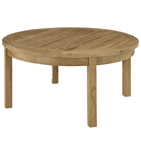 Marina Outdoor Patio Teak Round Coffee Table - Natural