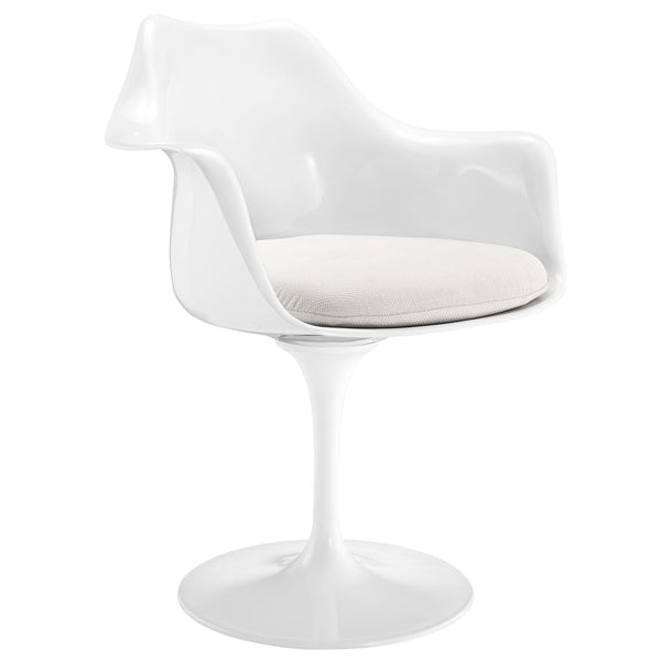 Lippa Dining Fabric Armchair - White