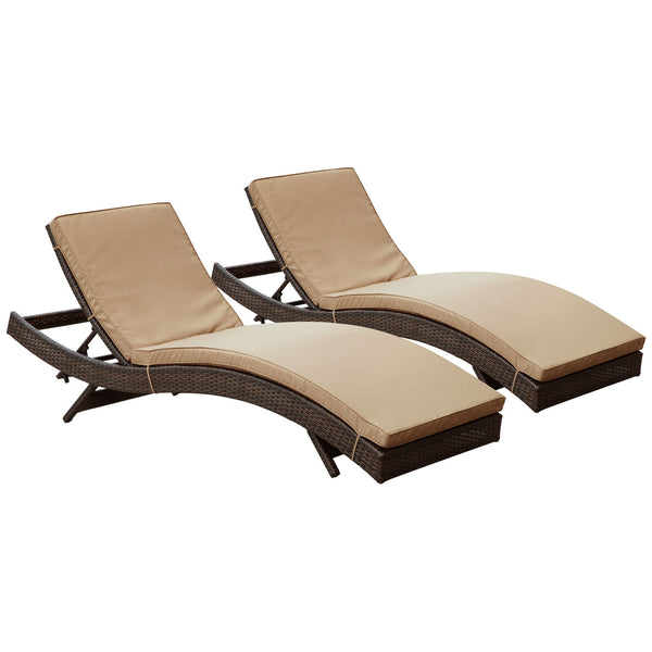Peer Chaise Outdoor Patio Set of 2 - Brown Mocha