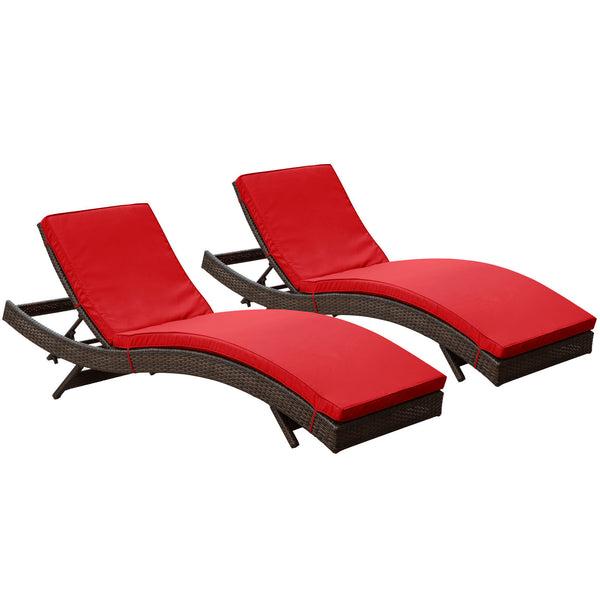 Peer Chaise Outdoor Patio Set of 2 - Brown Red