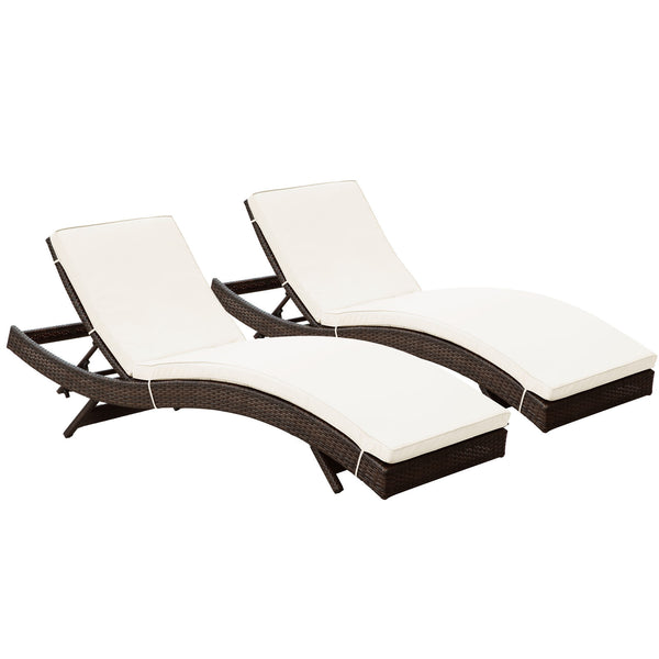 Peer Chaise Outdoor Patio Set of 2 - Brown White