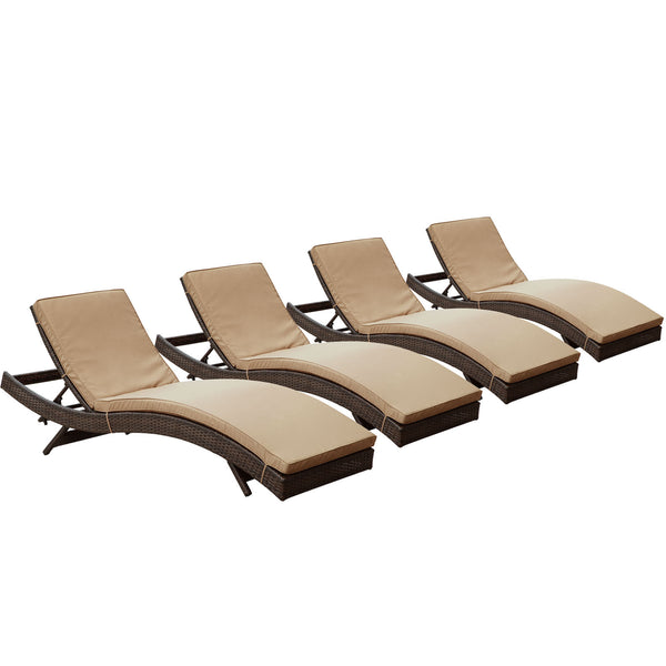 Peer Chaise Outdoor Patio Set of 4 - Brown Mocha
