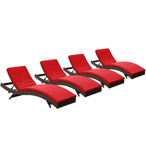Peer Chaise Outdoor Patio Set of 4 - Brown Red