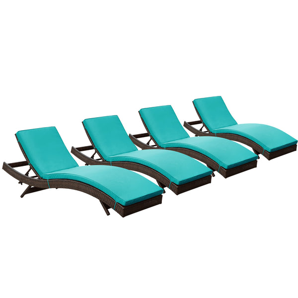 Peer Chaise Outdoor Patio Set of 4 - Brown Turquoise