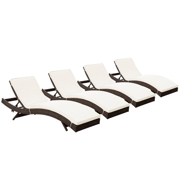 Peer Chaise Outdoor Patio Set of 4 - Brown White