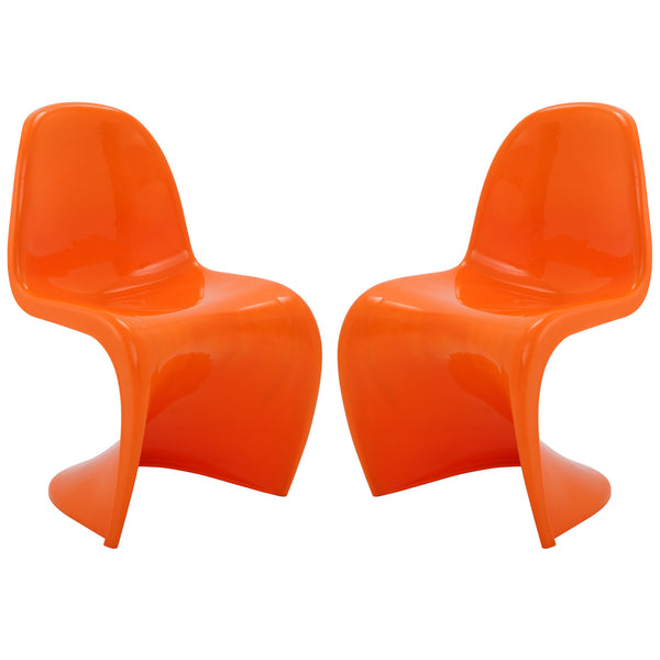 Slither Dining Side Chair Set of 2 - Orange