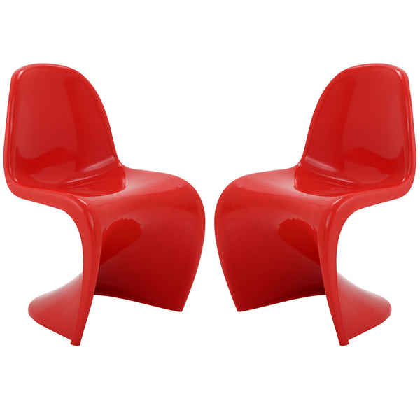 Slither Dining Side Chair Set of 2 - Red