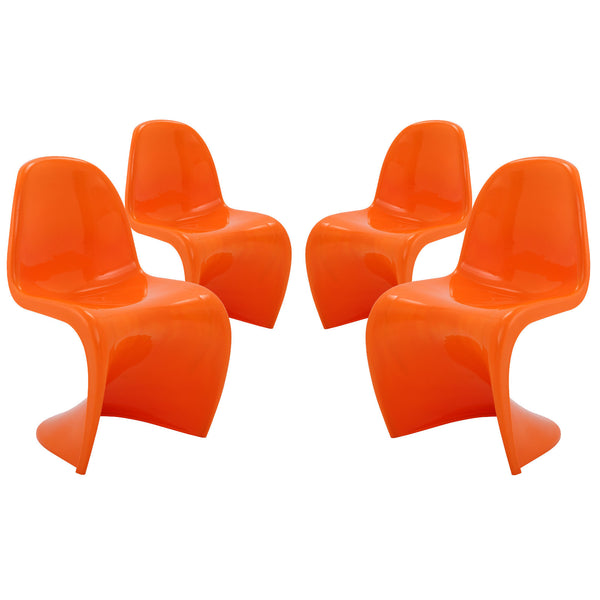 Slither Dining Side Chair Set of 4 - Orange