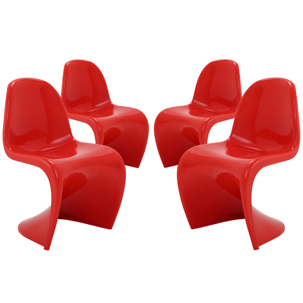 Slither Dining Side Chair Set of 4 - Red