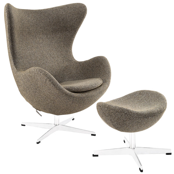 Glove Wool Lounge Chair and Ottoman Set - Oatmeal