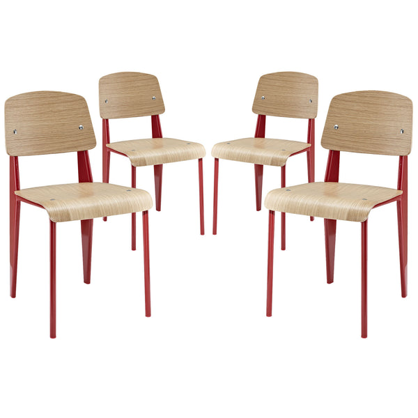 Cabin Dining Side Chair Set of 4 - Red
