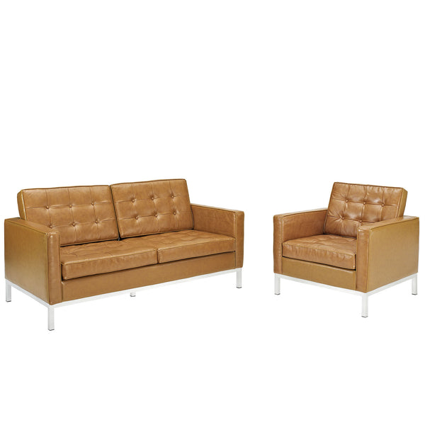 Loft Loveseat Leather 2 Piece Set - Tan