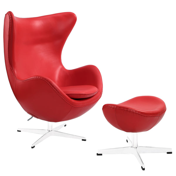 Glove Leather Lounge Chair and Ottoman - Red