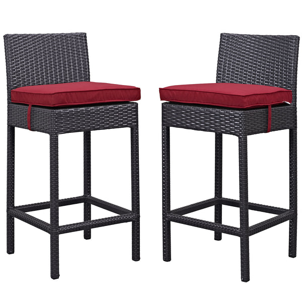 Lift Bar Stool Outdoor Patio Set of 2 - Espresso Red