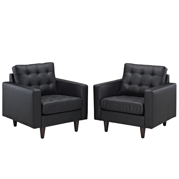 Empress Armchair Leather Set of 2 - Black