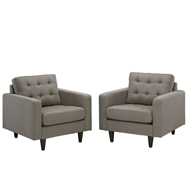 Empress Armchair Upholstered Set of 2 - Granite