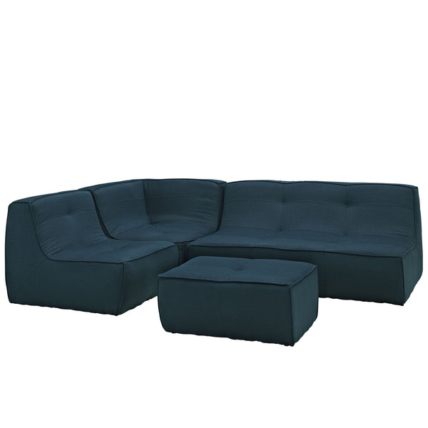 Align 4 Piece Upholstered Sectional Sofa Set - Azure
