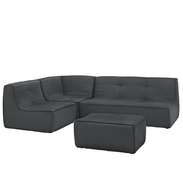 Align 4 Piece Upholstered Sectional Sofa Set - Charcoal