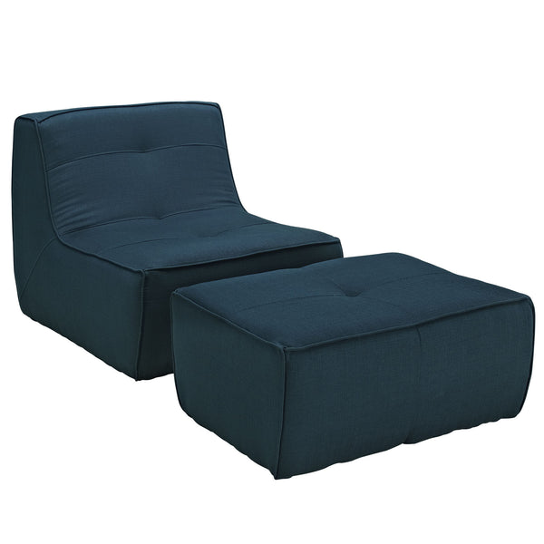 Align 2 Piece Upholstered Armchair and Ottoman Set - Azure