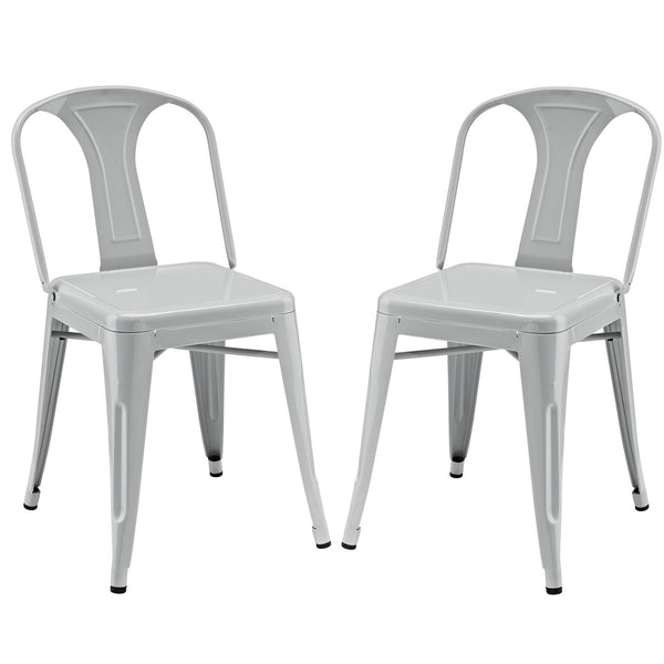 Reception Dining Side Chair Set of 2 - Gray