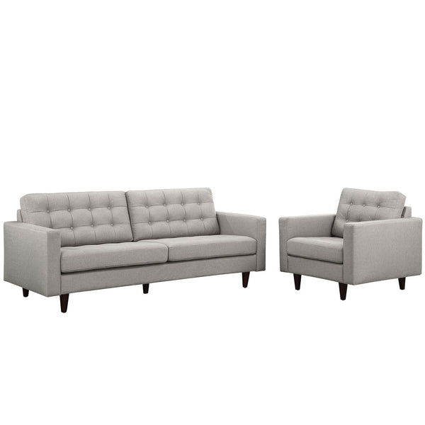Empress Armchair and Sofa Set of 2 - Light Gray