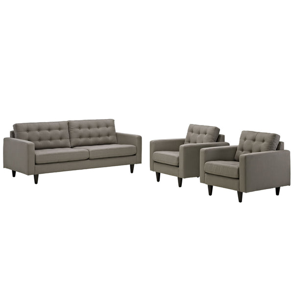 Empress Sofa and Armchairs Set of 3 - Granite