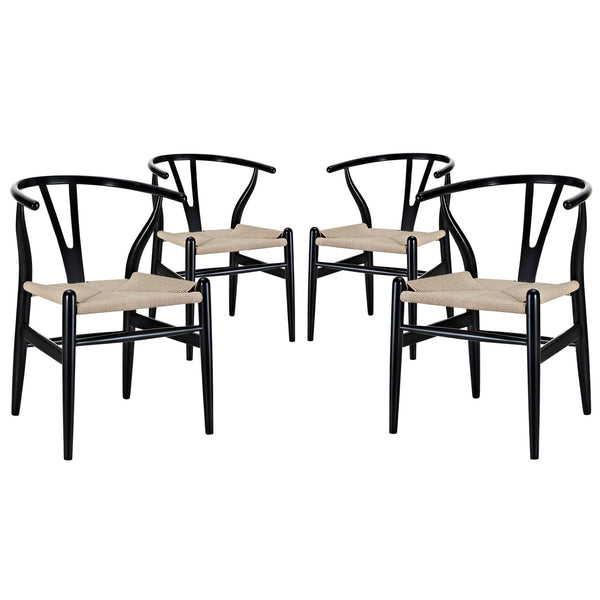 Amish Dining Armchair Set of 4 - Black