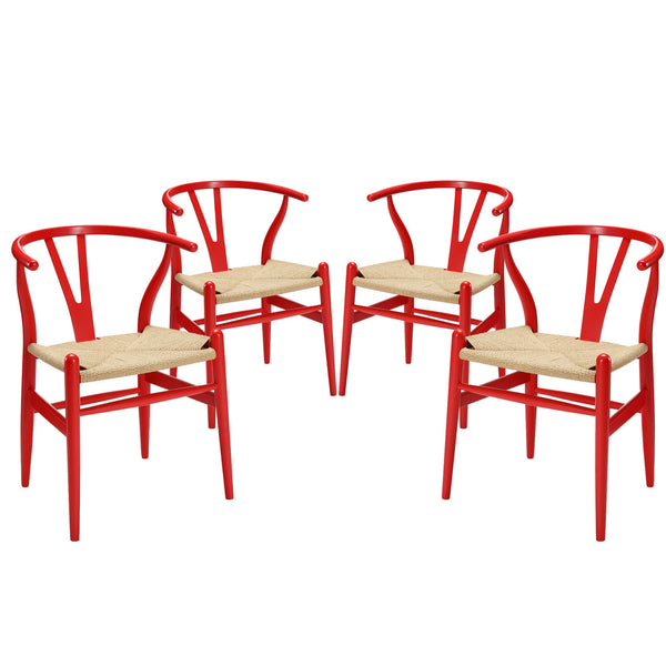 Amish Dining Armchair Set of 4 - Red