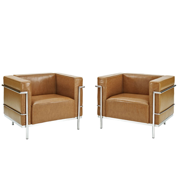 Charles Grande Armchairs Leather Set Of 2 - Tan
