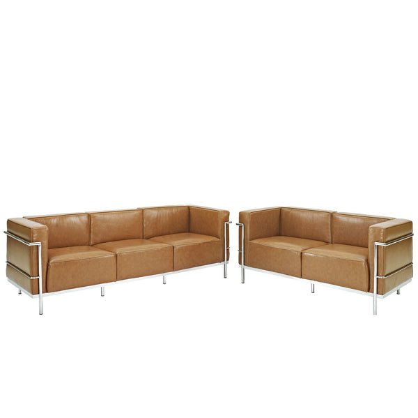 Charles Grande Sofa and  Loveseat Leather Set Of 2 - Tan