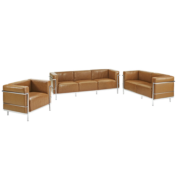 Charles Grande Sofa Loveseat and Armchair Leather Set Of 3 - Tan