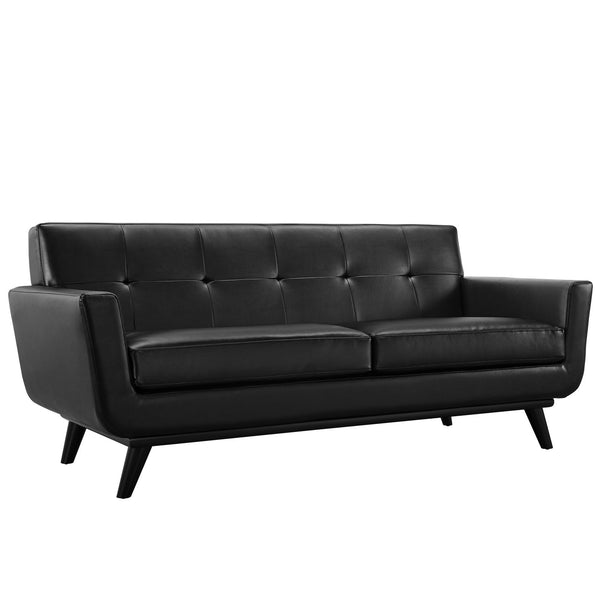 Engage Bonded Leather Loveseat - Black